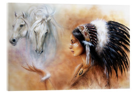 Akrylglastavla  American Indian with horses