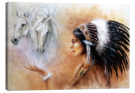 Canvastavla  American Indian with horses