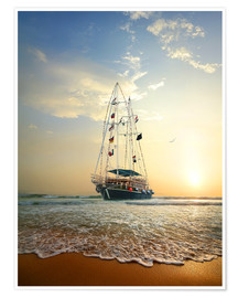 Premiumposter Sailing ship on the waves of the ocean