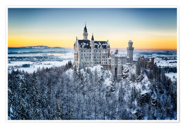 Premiumposter  Neuschwanstein in the snow