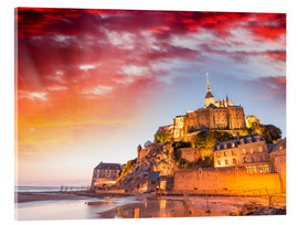 Akrylglastavla  Stunning sunset over Mont Saint Michel