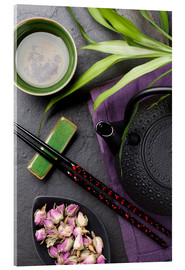 Akrylglastavla  Asian sushi chopsticks, tea and teapot