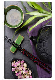 Canvastavla  Asian sushi chopsticks, tea and teapot