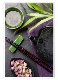 Premiumposter  Asian sushi chopsticks, tea and teapot