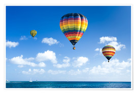 Premiumposter  Colorful hot air balloons on the blue sea