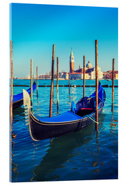 Akrylglastavla  Gondolas in lagoon of Venice on sunrise
