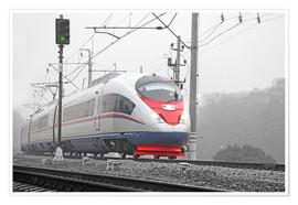 Premiumposter  High-speed train in the fog