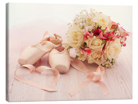 Canvastavla  Ballet shoes with bouquet