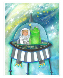 Poster  The little astronaut and his friend in the spaceship - Atelier BuntePunkt
