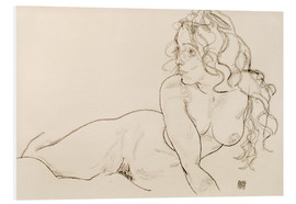 PVC-tavla  Supporting herself, Female with long hair - Egon Schiele