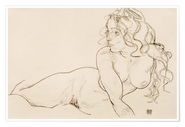 Premiumposter  Supporting herself, Female with long hair - Egon Schiele