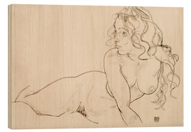Trätavla  Supporting herself, Female with long hair - Egon Schiele