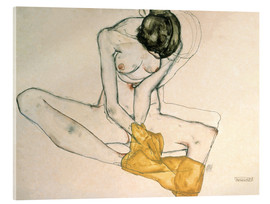 Akrylglastavla  Seated with yellow cloth - Egon Schiele