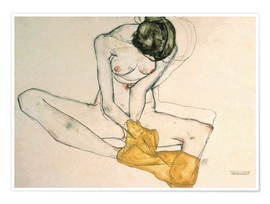 Poster  Girl with yellow scarf - Egon Schiele