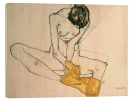 Trätavla  Seated with yellow cloth - Egon Schiele
