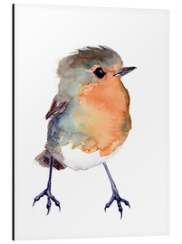 Aluminiumtavla  Baby robin in watercolour - Verbrugge Watercolor