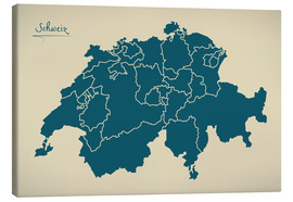Canvastavla  Switzerland Modern Map Artwork Design - Ingo Menhard
