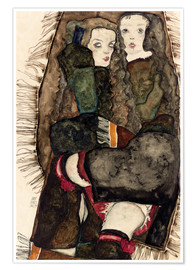 Premiumposter Two Girls on a Fringed Blanket