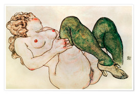 Premiumposter Nude with green stockings