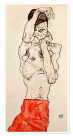 Premiumposter  Male nude, standing, with red loincloth - Egon Schiele