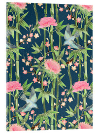 Akrylglastavla  bamboo birds and blossoms on teal - Micklyn Le Feuvre
