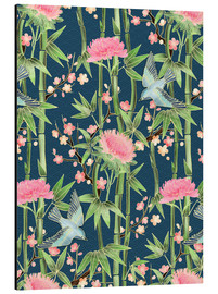 Aluminiumtavla  bamboo birds and blossoms on teal - Micklyn Le Feuvre