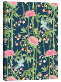 Canvastavla  bamboo birds and blossoms on teal - Micklyn Le Feuvre