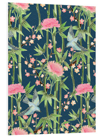PVC-tavla  bamboo birds and blossoms on teal - Micklyn Le Feuvre