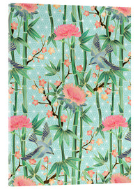 Akrylglastavla  bamboo birds and blossoms on mint - Micklyn Le Feuvre