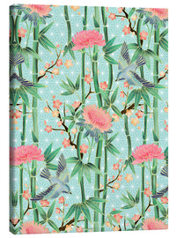 Canvastavla  bamboo birds and blossoms on mint - Micklyn Le Feuvre