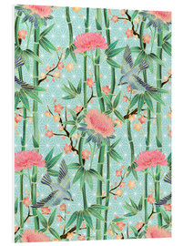 PVC-tavla  bamboo birds and blossoms on mint - Micklyn Le Feuvre
