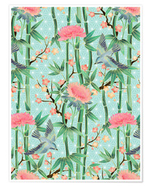 Premiumposter  bamboo birds and blossoms on mint - Micklyn Le Feuvre