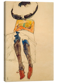 Canvastavla  Seated Semi Nude with Hat and Purple Stockings - Egon Schiele