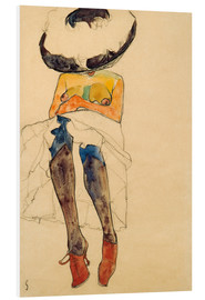 PVC-tavla  Seated Semi Nude with Hat and Purple Stockings - Egon Schiele