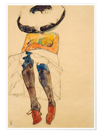 Premiumposter  Seated Semi Nude with Hat and Purple Stockings - Egon Schiele