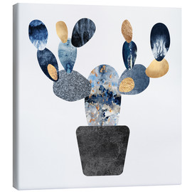 Canvastavla  Blue And Gold Cactus - Elisabeth Fredriksson