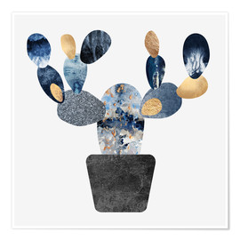 Premiumposter  Blue And Gold Cactus - Elisabeth Fredriksson