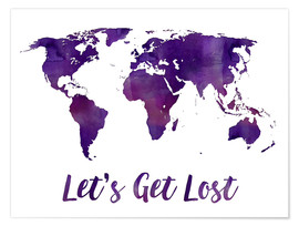 Premiumposter World map purple