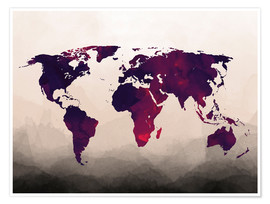 Premiumposter World Map Reddish Purple