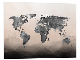 PVC-tavla  Charcoal world map - Mod Pop Deco