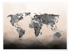 Poster  Charcoal world map - Mod Pop Deco