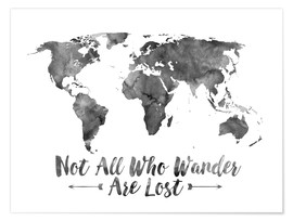 Poster  Watercolor World Map - Mod Pop Deco