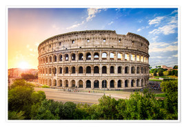 Poster Colosseum at sunset in Rome, Italy