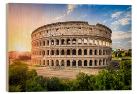 Trätavla  Colosseum at sunset in Rome, Italy - Jan Christopher Becke