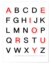 Poster  Alphabet in black and red - Finlay and Noa