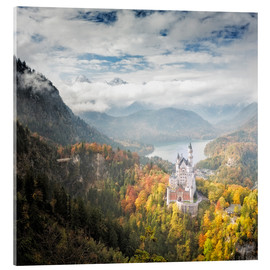 Akrylglastavla  Neuschwanstein Castle at Autumn - Dieter Meyrl