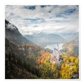 Premiumposter  Neuschwanstein Castle at Autumn - Dieter Meyrl
