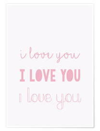 Premiumposter I love you pastel