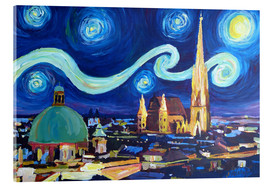 Akrylglastavla  Starry Night in Vienna Austria   Saint Stephan Cathedral Van Gogh Inspirations - M. Bleichner