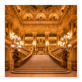 Premiumposter Staircase of the Opera Garnier in Paris France
